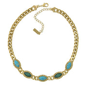 Gold-Tone Green And Turquoise Color Collar Chain Statement Necklace 16 - 19 Inch Adjustable