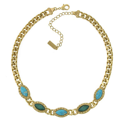 Gold-Tone Green and Turquoise Color Collar Chain Statement Necklace 16 In Adj