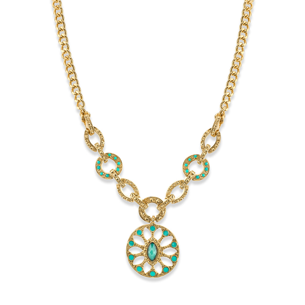14K Gold Dipped Green and Aqua Blue Medallion Necklace