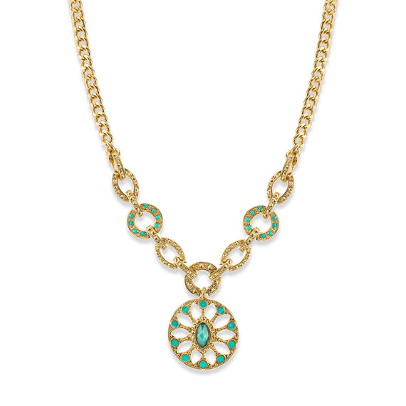 1928 Jewelry: Alex Nicole - 14K Gold Dipped Green and Aqua Blue Medallion Necklace