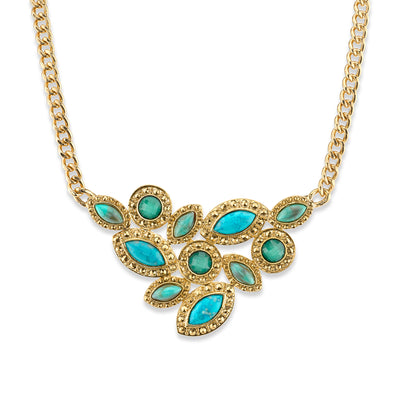 Gold-Tone Green and Turquoise Color Cluster Front Necklace 16 In Adj