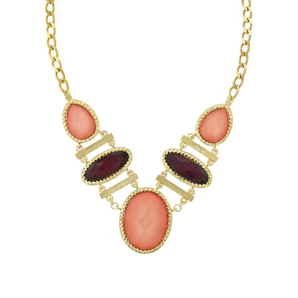 Gold-Tone Raspberry/Peach 5 Drop Necklace 16 - 19 Inch Adjustable
