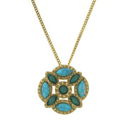 Gold-Tone Green And Turquoise Color Large Pendant Necklace 28 In