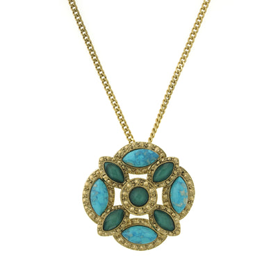 1928 Jewelry Gold-Tone Green and Turquoise Color Large Pendant Necklace 28 In