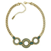 Gold-Tone Green And Turquoise Color 3 Ring Necklace 16.5 - 19.5 Inch Adjustable