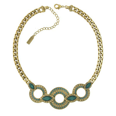 Gold-Tone Green and Turquoise Color 3 Ring Necklace 16.5 In Adj