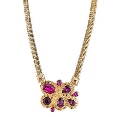 Gold-Tone Amethyst Purple Color and Fuschia Cluster Necklace 16 In Adj