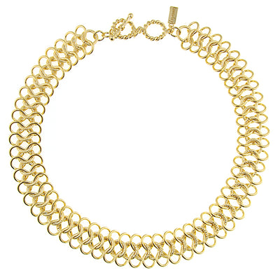 Gold Tone Ornate Link Collar Necklace 16