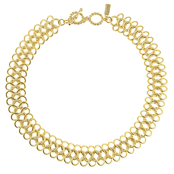 Gold-Tone Ornate Link Collar Necklace 16