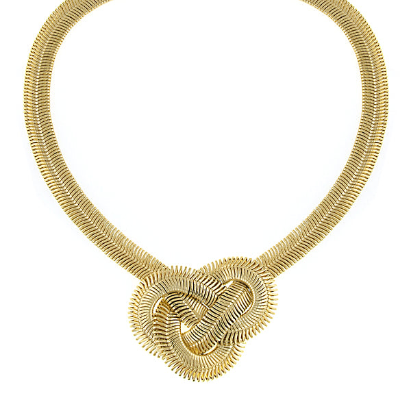 Gold Tone Knot Necklace 16   19 Inch Adjustable