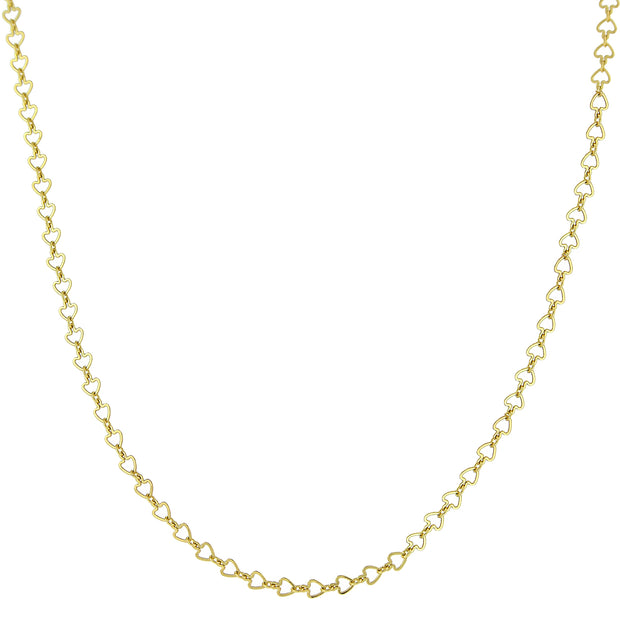 14K Gold-Dipped Heart Chain Necklace 16 Inch