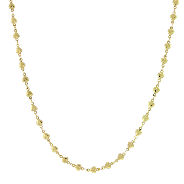 14K Gold Dipped Station Heart Necklace 16 Inch