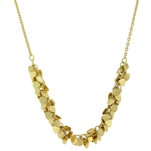 14K Gold-Dipped Cluster Heart Necklace 16 In