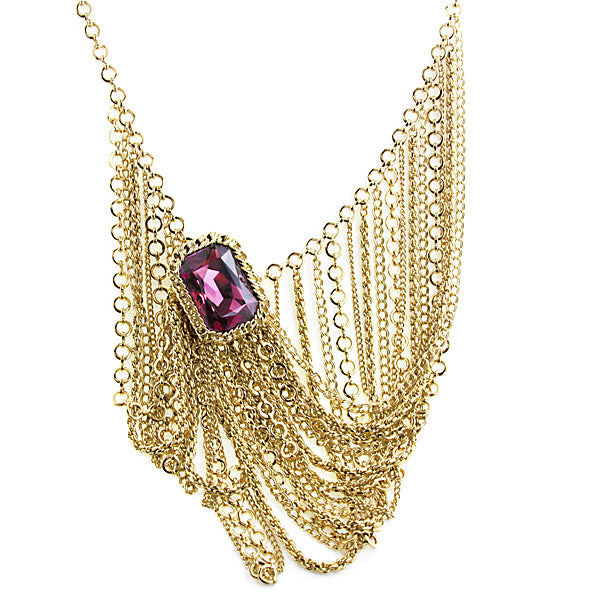 Gold-Tone Swarovski Amethyst Chain Bib Necklace 16 - 19 Inch Adjustable