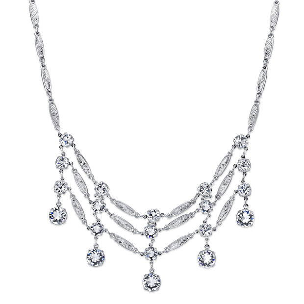 Silver-Tone Genuine Swarovski Crystal Bib Necklace 15 In Adj