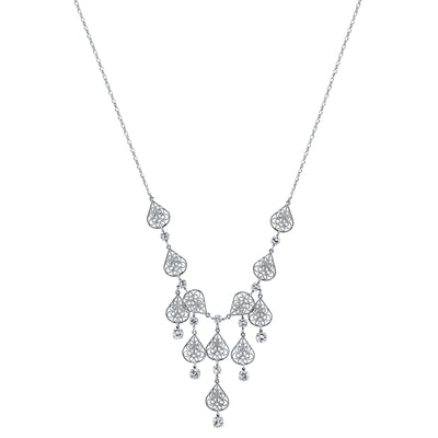 1928 Jewelry Silver-Tone Genuine Swarovski Crystal Filigree Bib Necklace 16 - 19 Inch Adjustable