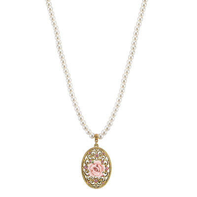 Gold Tone Costume Pearl Pink Crystal Porcelain Rose Filigree Pendant 15  Adj