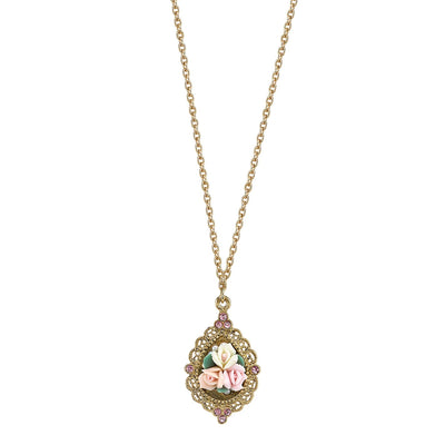Gold Tone Pink Crystal And Ivory And Pink Porcelain Rose Necklace 16   19 Inch Adjustable