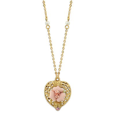 Gold-Tone Pink Crystal Heart And Pink Porcelain Rose Filigree Necklace 16 - 19 Inch Adjustable