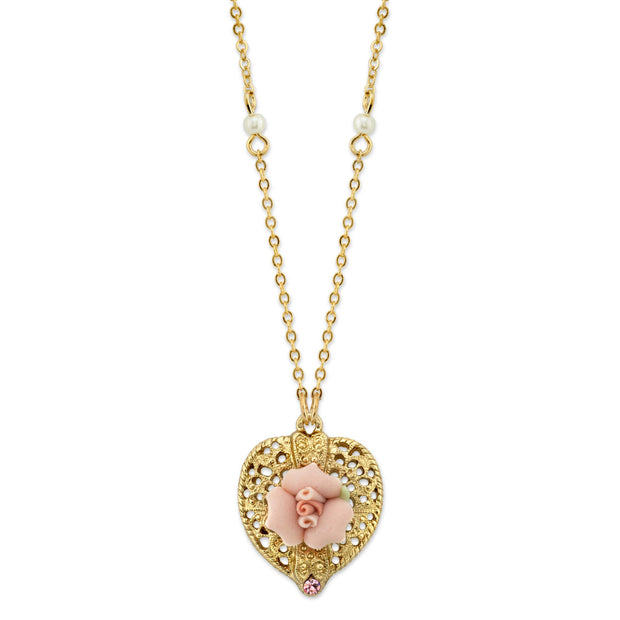 Gold-Tone Pink Crystal Heart and Pink Porcelain Rose Filigree Necklace 16 In Adj