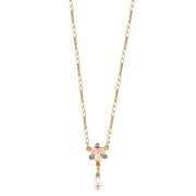 Gold Tone Crystal Ivory And Pink Porcelain Rose Costume Pearl Necklace 16   19 Inch Adjustable