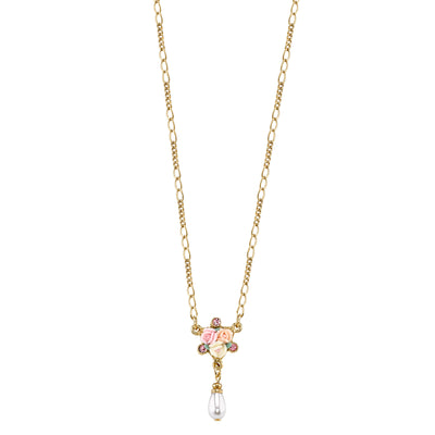 Gold-Tone Crystal Ivory and Pink Porcelain Rose Costume Pearl Necklace 16 In Adj
