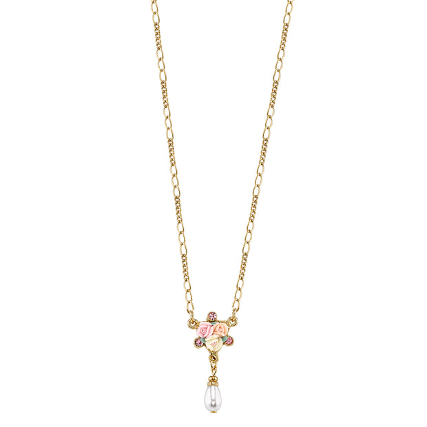Gold-Tone Crystal Ivory And Pink Porcelain Rose Costume Pearl Necklace 16 - 19 Inch Adjustable