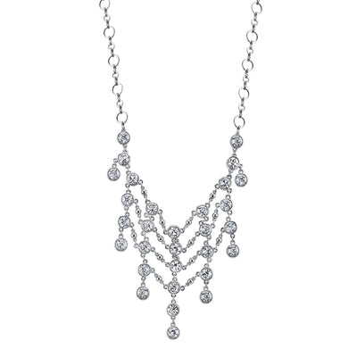 Silver-Tone Crystal Statement Bib Necklace 15 In Adj