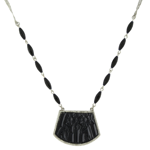 Silver-Tone Glossy Jet Embossed Pendant Necklace 16 In Adj