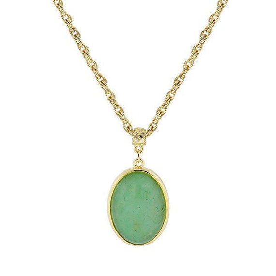 14K Gold-Dipped Semi-Precious Aventurine Green Oval Pendant Necklace 16 Adj.