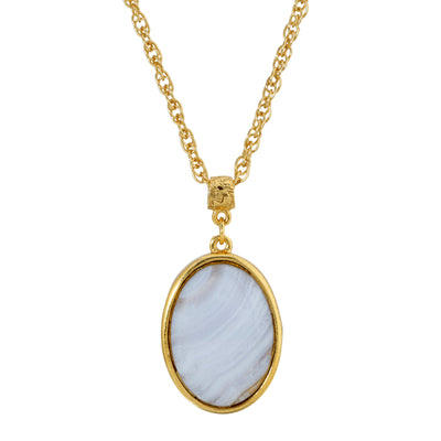 14K Gold Dipped Gemstone Blue Lace Agat Oval Pendant Necklace 16   19 Inch Adjustable, Blue Lace