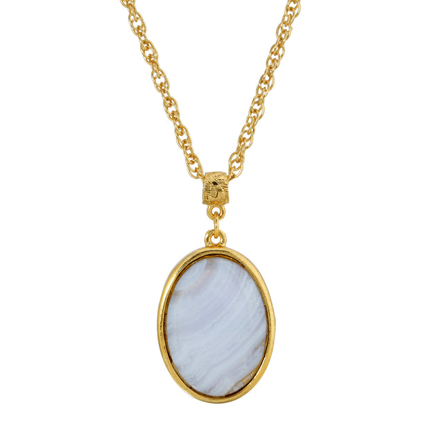 14K Gold-Dipped Gemstone Blue Lace Agat Oval Pendant Necklace 16 - 19 Inch Adjustable, Blue Lace