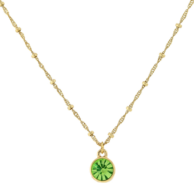 14K Gold-Dipped Pendant Necklace 16 - 19 Inch Adjustable Green