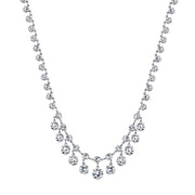 Silver Tone Genuine Swarovski Crystal Collar Necklace 15 In Adj