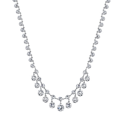 Silver-Tone Genuine Swarovski Crystal Collar Necklace 15 In Adj