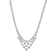 Silver-Tone Genuine Swarovski Crystal Bib Interwoven Necklace 15 In. Adj.
