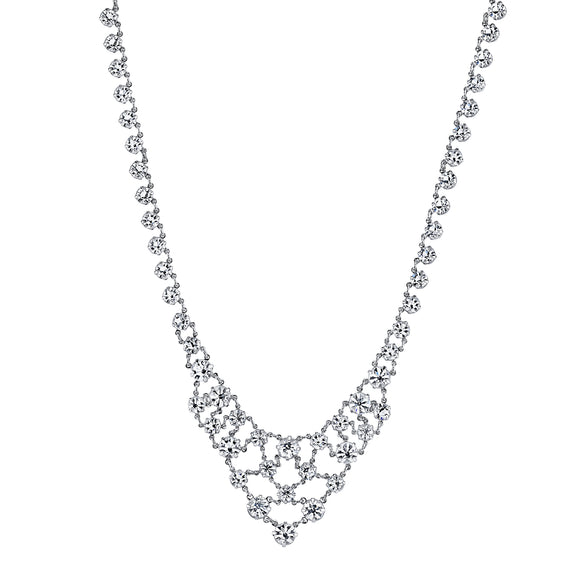 1928 Jewelry: 1928 Jewelry - Silver-Tone Genuine Swarovski Crystal Interwoven Necklace