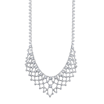 Silver Tone Genuine Swarovski Crystal Bib Statement Necklace 14  Adj.