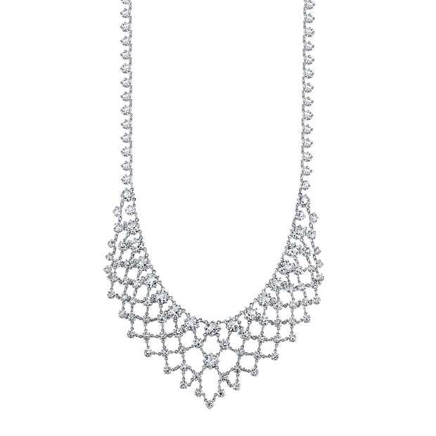 Silver-Tone Genuine Swarovski Crystal Bib Statement Necklace 14  Adj.