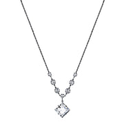 Black-Tone Genuine Swarovski Crystal Diamond Shape Pendant Necklace 16 In Adj