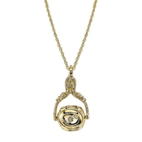 1928 Jewelry Victorian Style Gold-Tone Rotating Locket Necklace