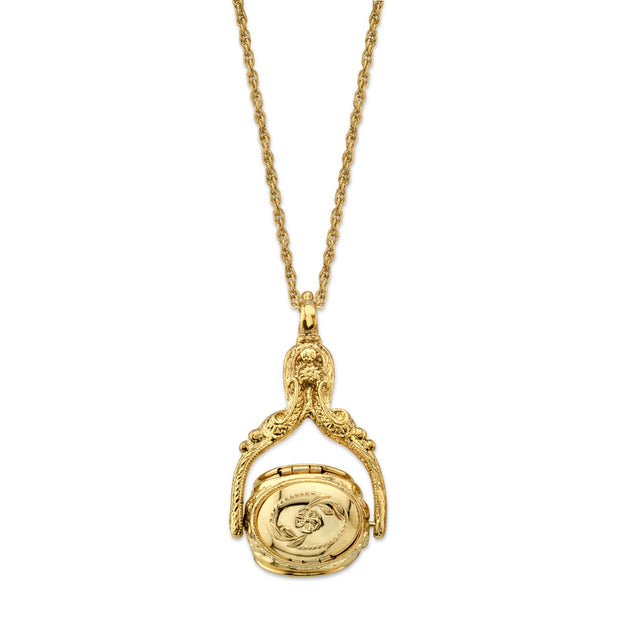 Gold Tone 3 Sided Spinner Locket Necklace 30 Inches