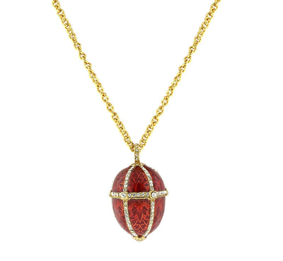14k Gold-Dipped Trellis Red Enamel with Crystal Accents Egg Locket Necklace 30""