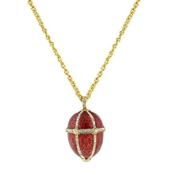 14k Gold-Dipped Trellis Red Enamel with Crystal Accents Egg Locket Necklace 30