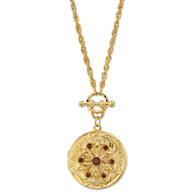Gold Tone Round Locket Necklace With Topaz Color Swarovski Crystals 30 In