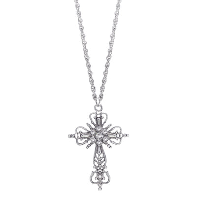 Silver-Tone Crystal Cross Necklace 30 Inch