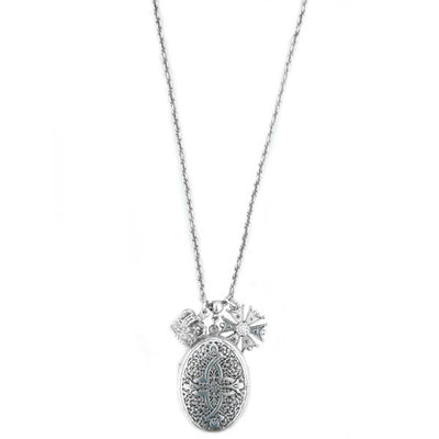 Silver Tone Charm Locket Necklace 34 In
