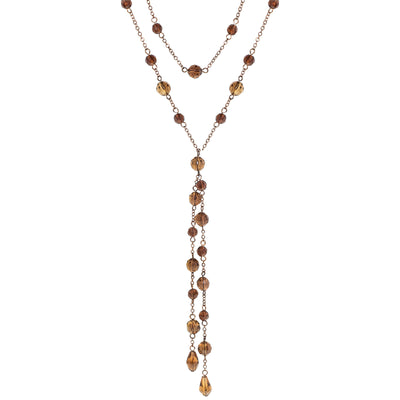 Burn.Copper/Lt.Colorado/Smoke Topaz Beaded Necklace 28 In