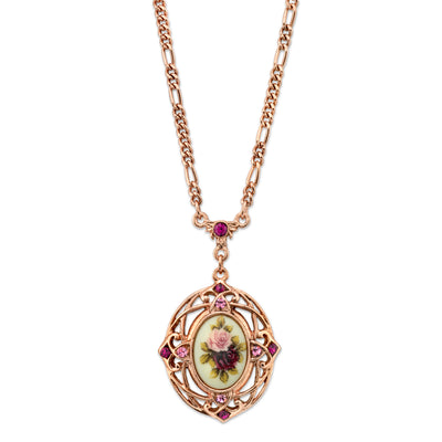 Rose Gold Tone Purple Crystal Flower Pendant Necklace 28 In