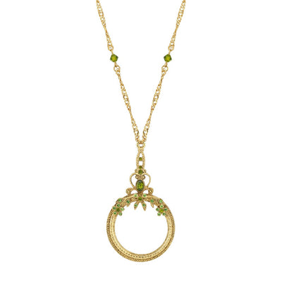 Gold Tone Green Crystal Magnifying Glass Necklace 30 In